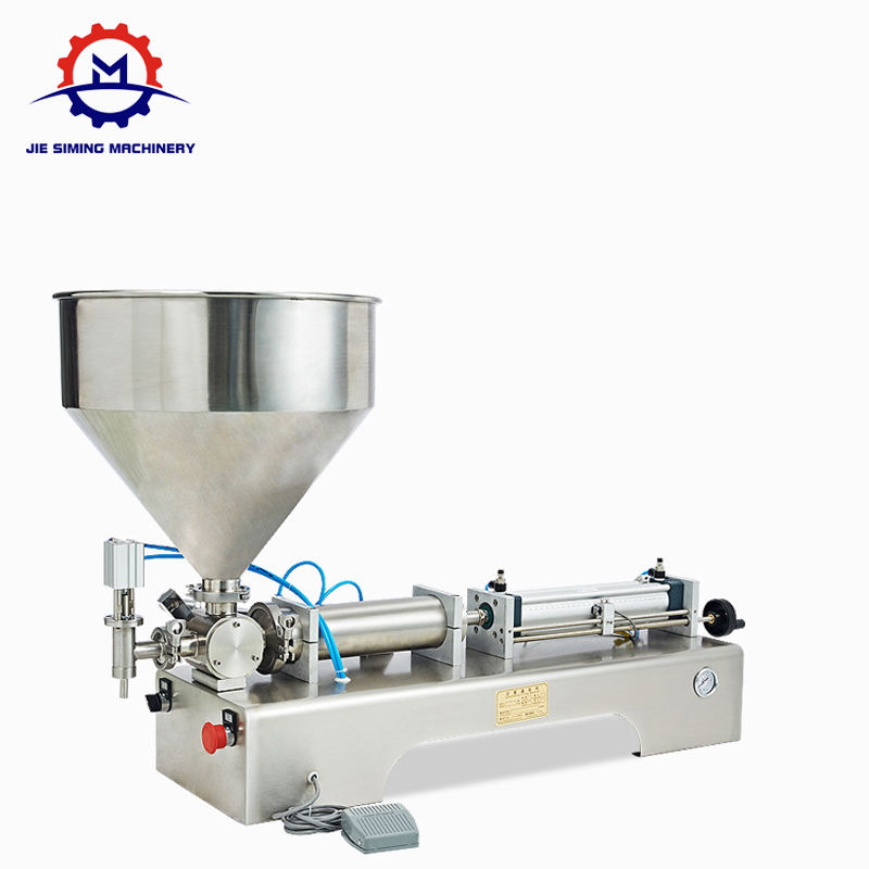Semi automatic heated hopper tomato paste honey filling machine with mixer