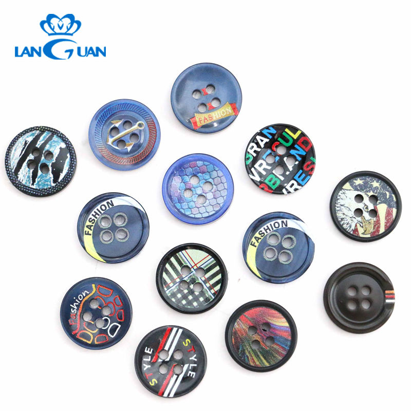 Personality Pattern 3D Craft Resin Button Printed