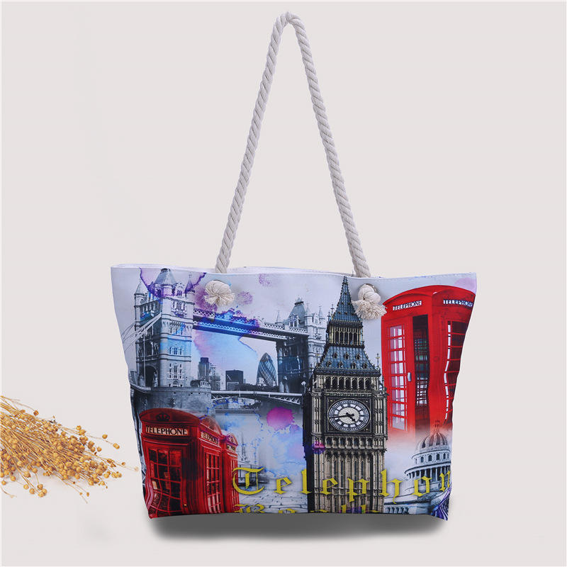2018 Lady New Vintage Castle Print Beach Canvas Tote Bag Handbag