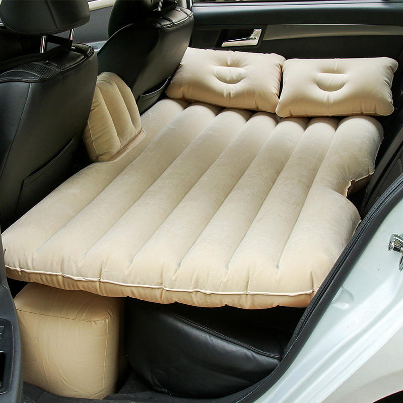 Car Backseat Inflatable Air Mattress Bed with Moto Pump and Two Pillows for Traveling Sleep Rest