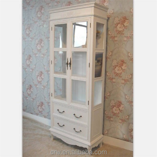WH-4058 European Style White Wooden Display Cabinet