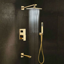 Luxury Gold Exquisite European Style Three Functions Waterfall Bathroom Taps Mixer Shower Faucet