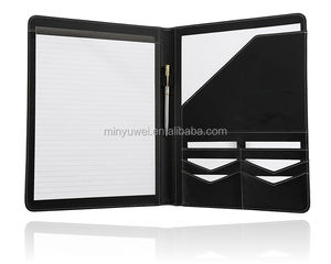 A4 size PU Leather notepad folder conference portfolio with compartment