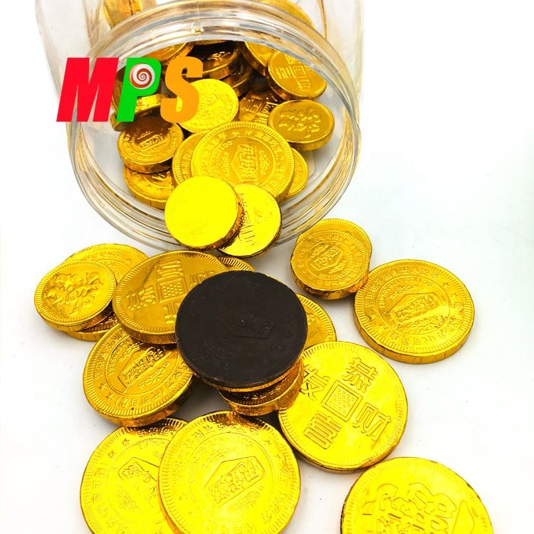 Gold Coin Shape Packed Dark Round Chocolate Chip