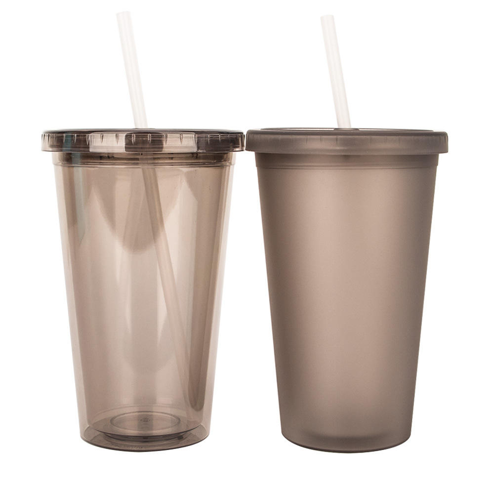 16oz 450ml PS frosted Straw plastic double wall tumbler plastic cup