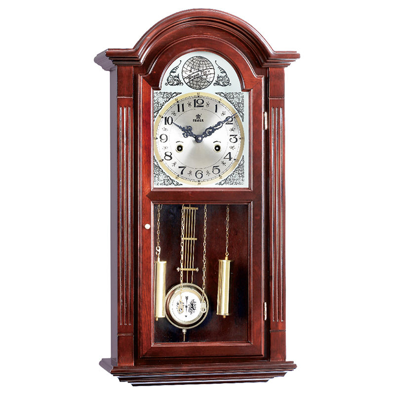 Mechanical Rotating Wall clocks Wooden case CE/FCC/ISO with Silver Dial and Gold Pendulum