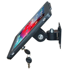 Security aluminium metal wall mount pos swivel stand tablet holder for ipad with enclosure anti-theft function