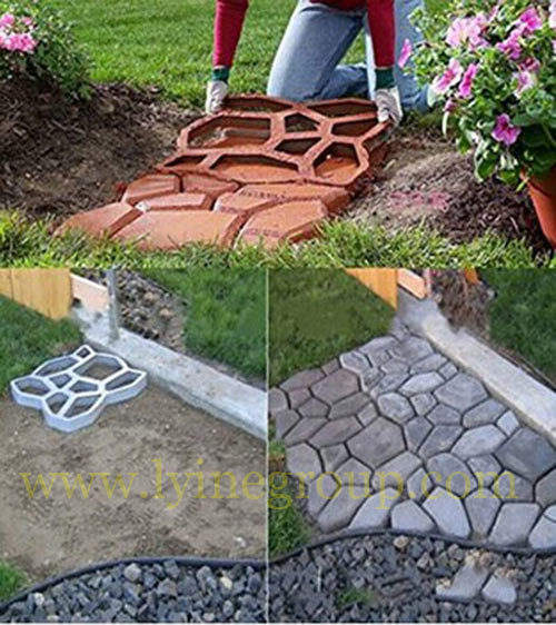 Lyine Plastic Concrete Stepping Stone molding Patio stamping Paving walkway Molds DIY Garden Tools-paver mold for garden path