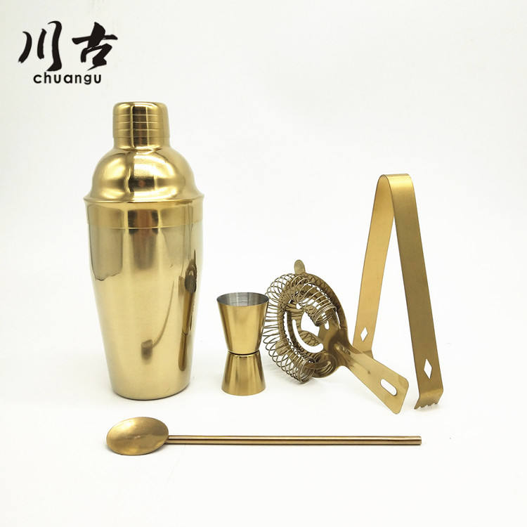550ml stainless steel gold cocktail shaker barware set in gift box
