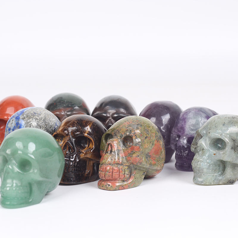 Wholesale Natural Hand Carved 1.5inch healing gemstone small Skulls Crystal Crafts mini crystal skulls For Decoration