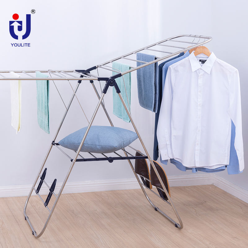 Heavy duty double hanging laundry air dryer clothes garment foldable drying rack