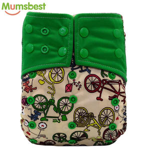 Natural bamboo charcoal material Washable double gussets printed color cloth pocket Diapers for baby