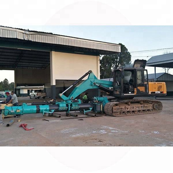 Customized excavator attachment transform it to be rotary drilling rig