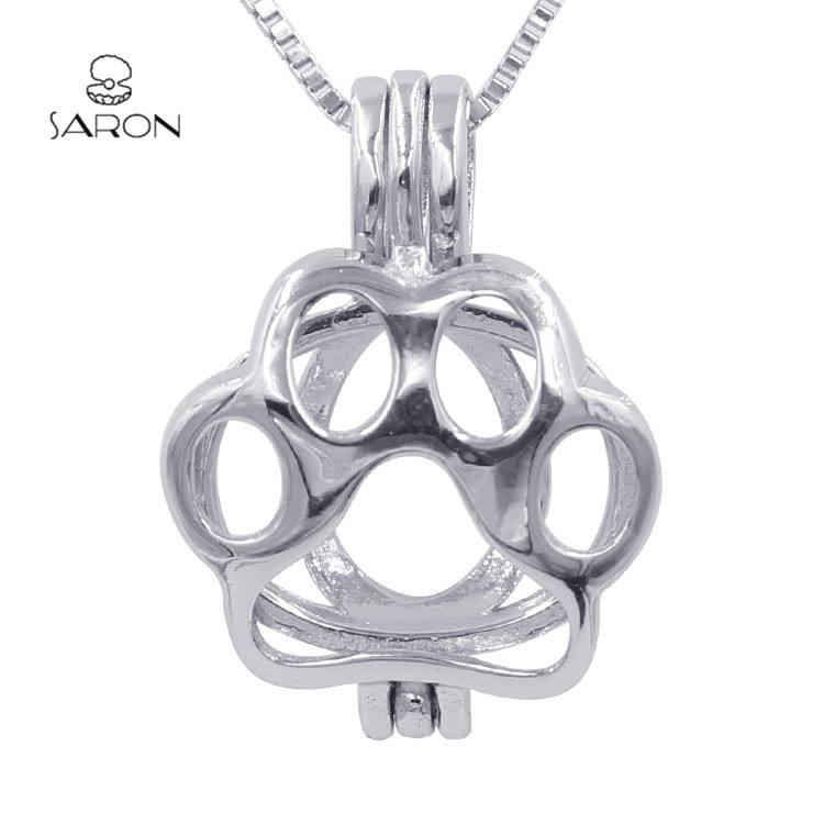 Sharon Gift Children's Jewelry Dog Paw Locket S925 Sterling Silver Bear Claw Pearl Cage Pendant