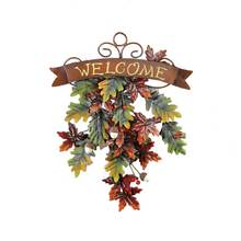 Metal Falling Leaves Welcome Door Decor