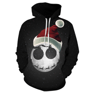 Hot Jual Starry Sky Fashion Unisex Digital Hitam Pullover Hoodie