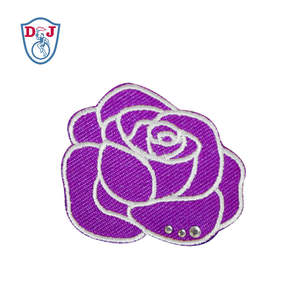 Rhinestone Custom Iron on Embroidered Flower Applique Patches