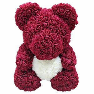 Factory directly sale multi color soap flower teddy rose bear for Valentine Christmas gift