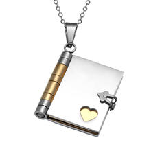 China supplier customized simple Silver Gold Stainless Steel Book Heart Pendant Necklace