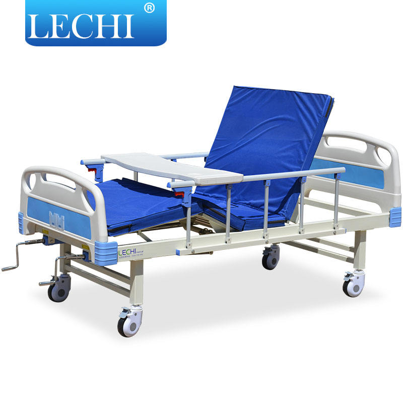Cheap price modern elder care medical equipment portable 2 cranks manual lift hospital bed with sti wheels