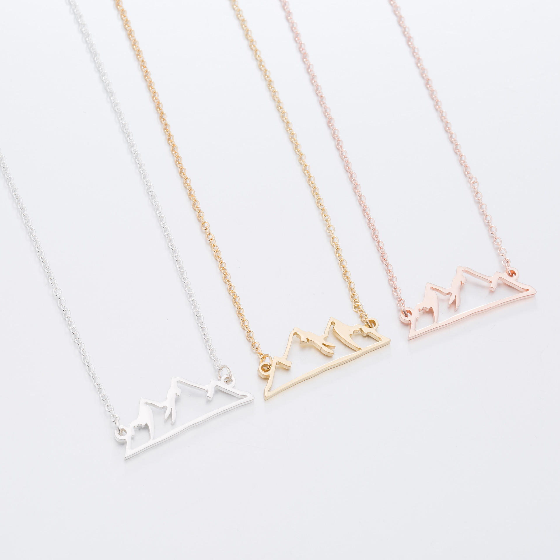 Cute Japan Origami mountains necklace Stainless steel Simple Gold mountains range landscape pendant necklace