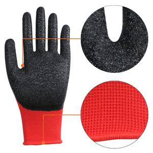 Industrial safety rubber hand protective wholesale construction anti slip grip heavy duty latex coated working gloves