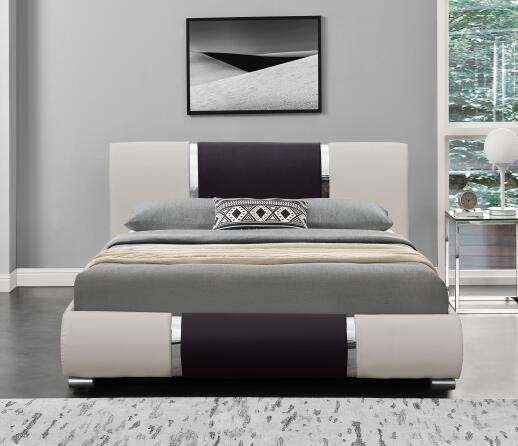 Modern Design Leather Sleigh Bed Decorated with High Gloss Chrome strips