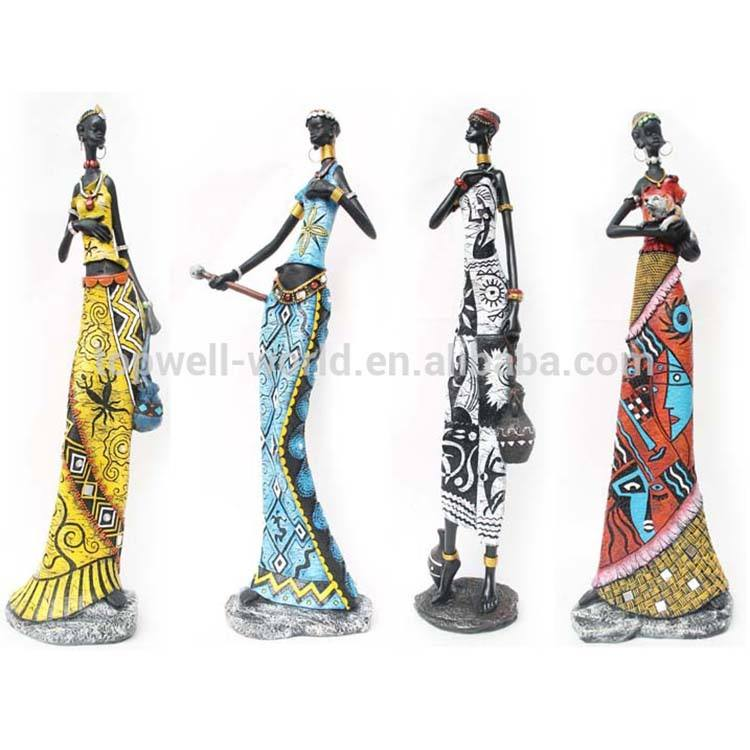 polyresin africano donna resina <span class=keywords><strong>figurine</strong></span> di lady black
