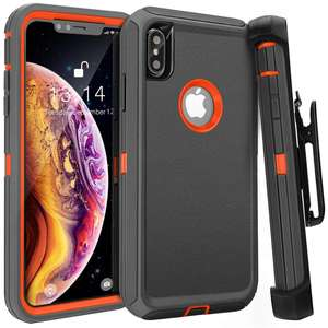 4 In 1 Kelas Militer Tugas Berat Sabuk Klip Sarung Stand Rugged Shockproof Defender Case Cover Kompatibel untuk iPhone X /X 5.8