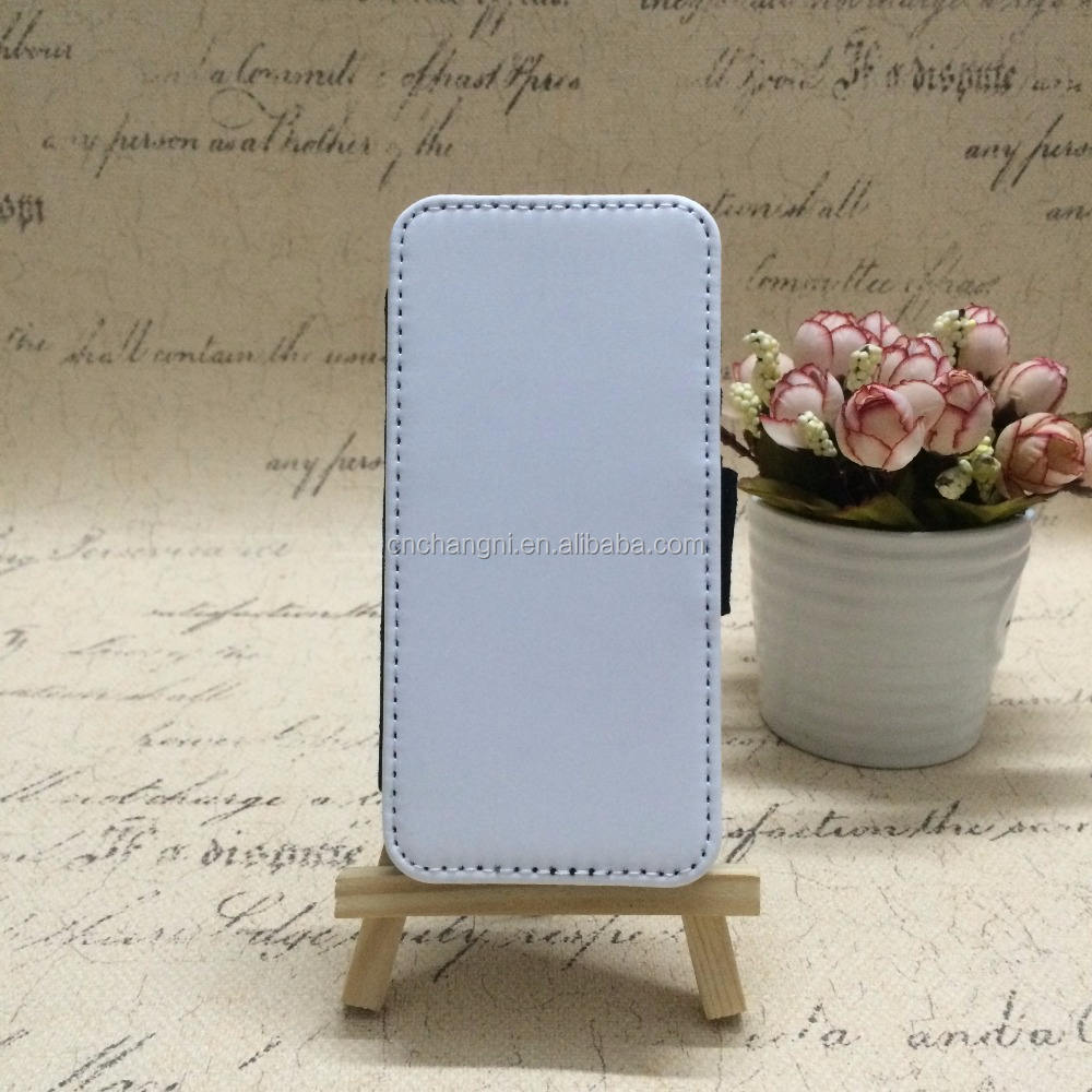 Sublimation White Leather mobile phone case with Wallet Card Slots for Iphone 5 black side polyester fibre and PC hard cover