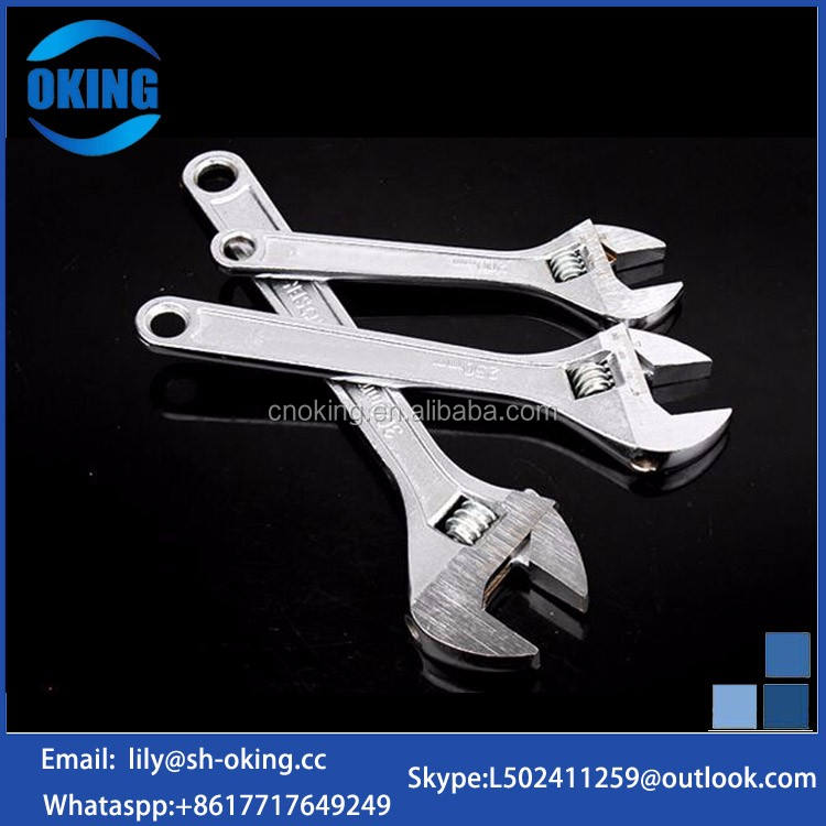 Adjustable stamped steel wrench with many sizes
