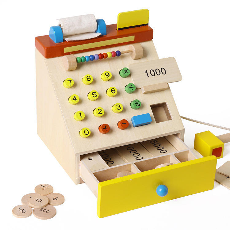 Checkout Register Kid's Wooden Pretend Play Set Change & Charge Educational Cash Register Toy with Play Wooden Coins