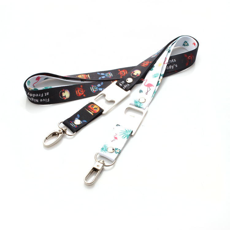 Custom design polyester printed durable lanyard with bottle opener