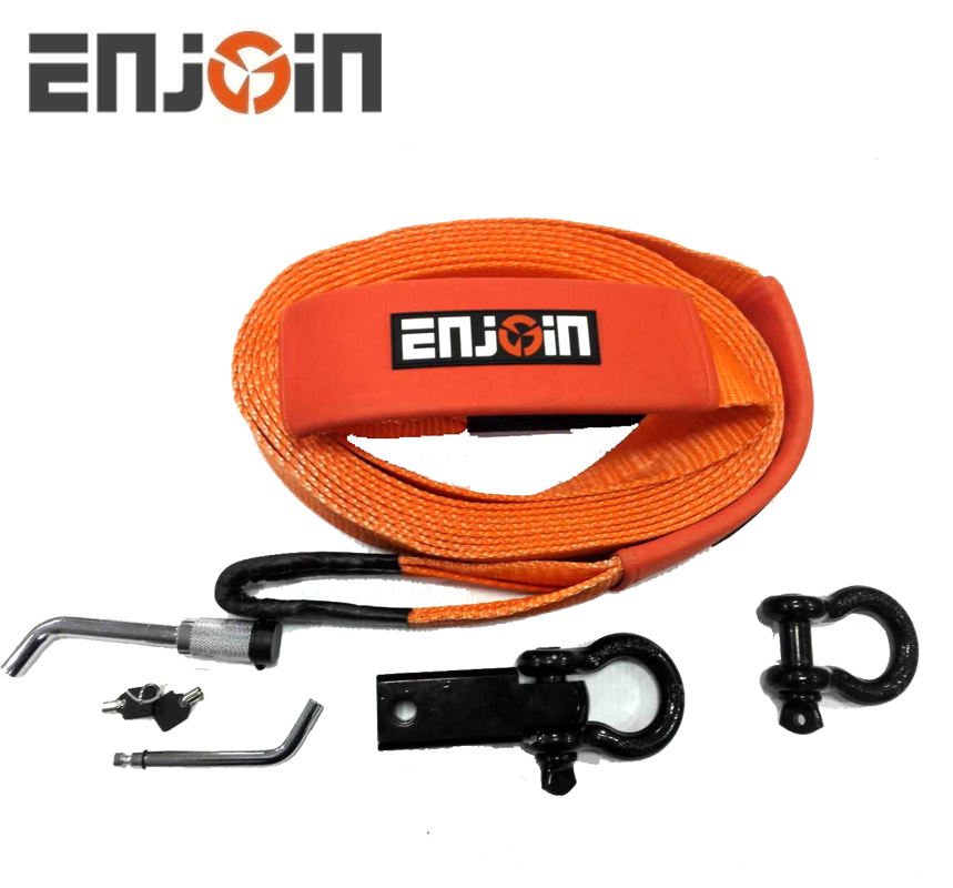 "ENJOIN Tow Stretch D Ring 27 Ft Rope 50mm Polyester Belt Snatch 1"" X 10m 20 Snowmobile Recovery Strap"