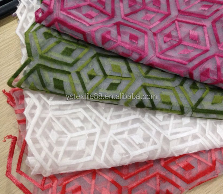 Fashionable new tow color and wool embroidery fabric with embroidery fabric organza embroidery