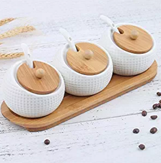 3 Pc White Ceramic Kitchen Spice Canister White Cookie Jars / Condiment Pots with Bamboo Lids & Rack Stand