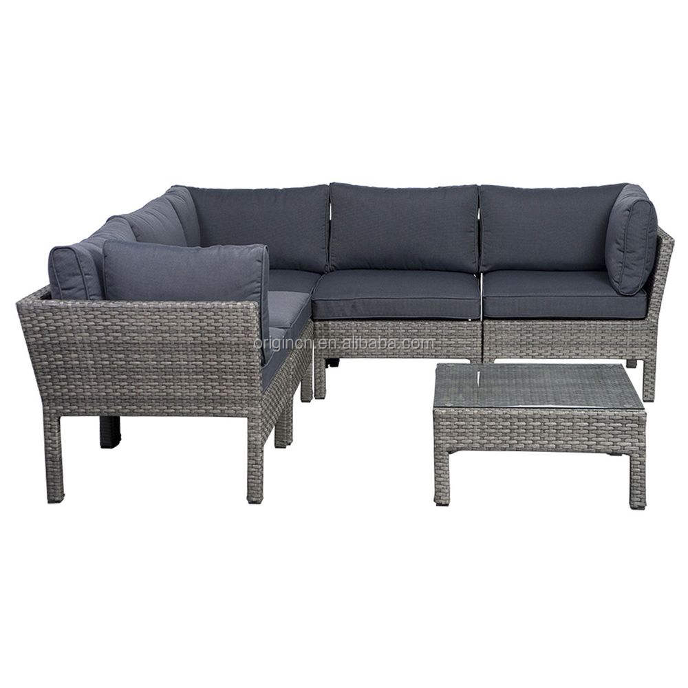 Ribera modular gray synthetic wicker patio seating set rattan bamboo sofa set