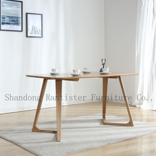 Solid wood rectangle table modern simple white oak table hotel household dining table