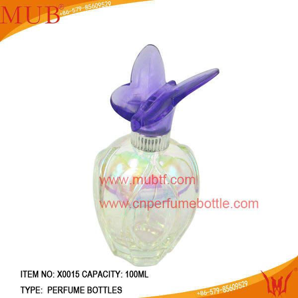 100 ml элегантные высокие бутылки дух круглые с бабочкой крышка