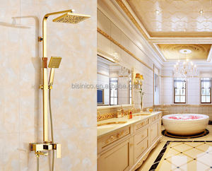 Luxury Brand Full Copper Hot and Cold Bathroom Shower Mixer, Gold Plated Brass Dual Bath Shower and Faucet Set