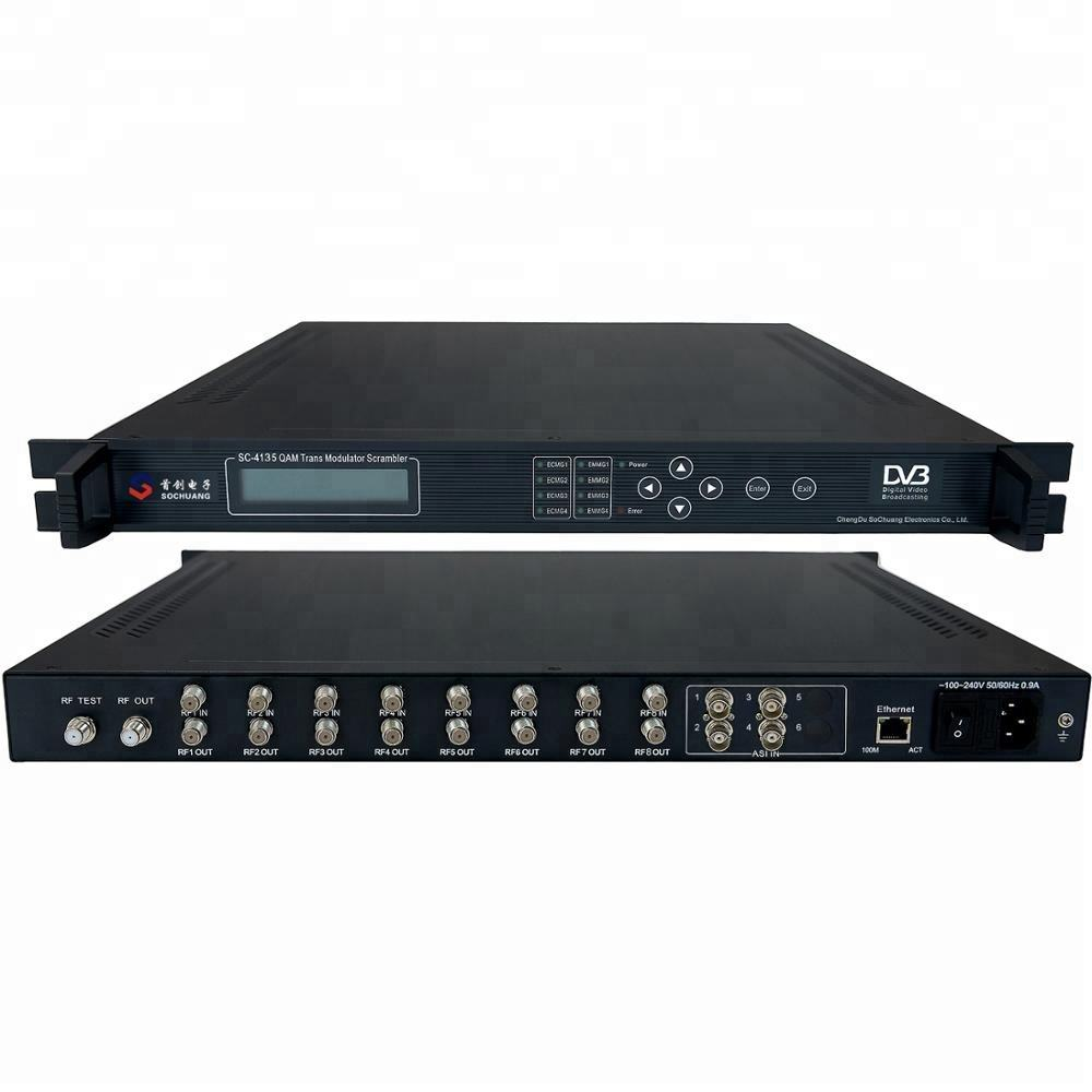 Catv digitale HFC kopstation qam modulator met scrambler cas (8 * DVB-S/S2 + 4 * ASI in, 4 * DVB-C RF out)