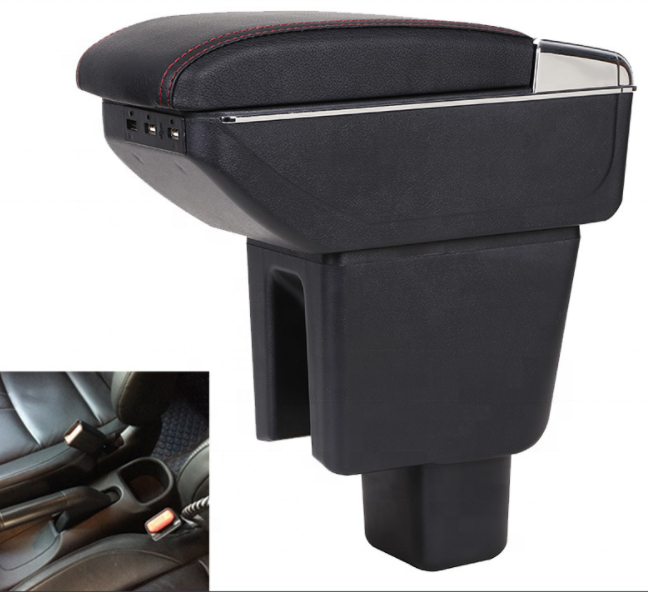 Japan BRV PVC Adjustable Arm Rest Armrest Console Black Leather 4 USB