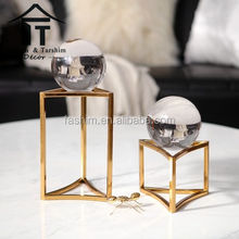 Indonesian home decor table centerpieces office table gift items crystal with Iron base popular items for desktop decoration