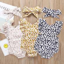 Baby girls Romper+hair band set Infants & Toddlers Organic Cotton Baby girls Rompers Wholesale Baby Clothes