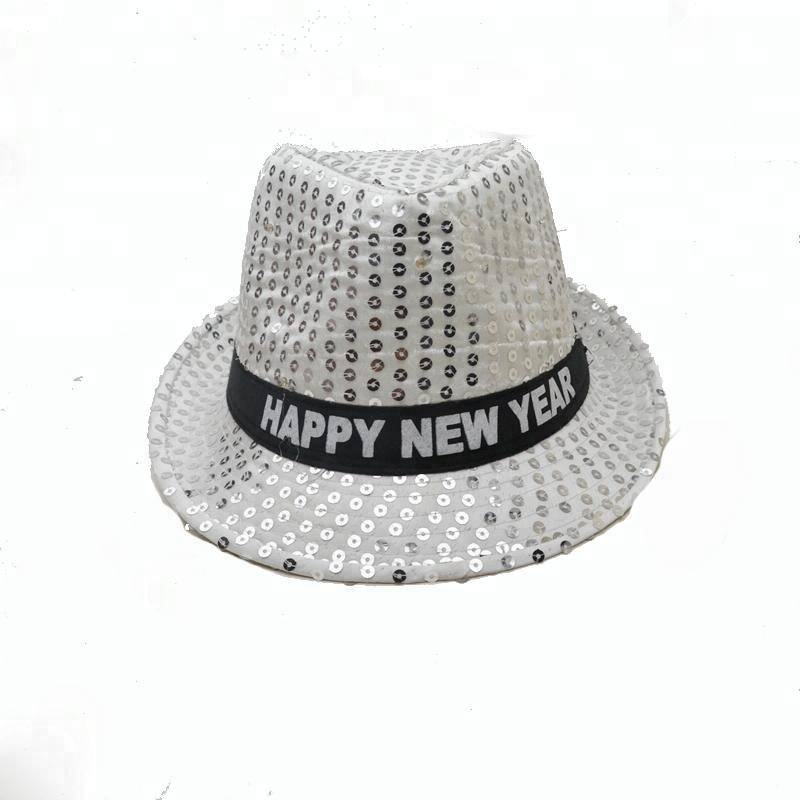 Hip hop hat happy new year led hat adults flashing sequins party led hat