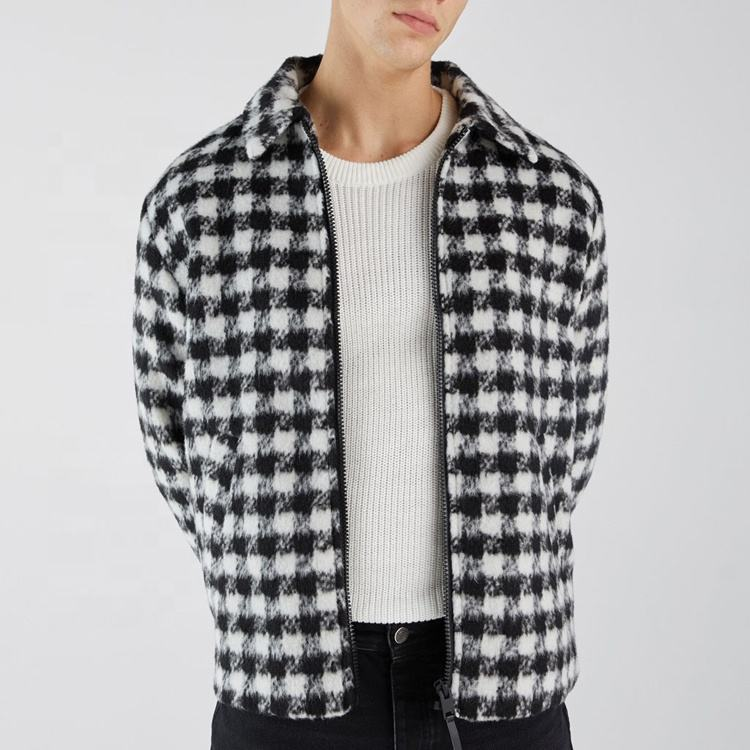 China supplier 2020 latest mens excellent cut plaid wool coat houndstooth print jacket short winter coat in grey checked parka