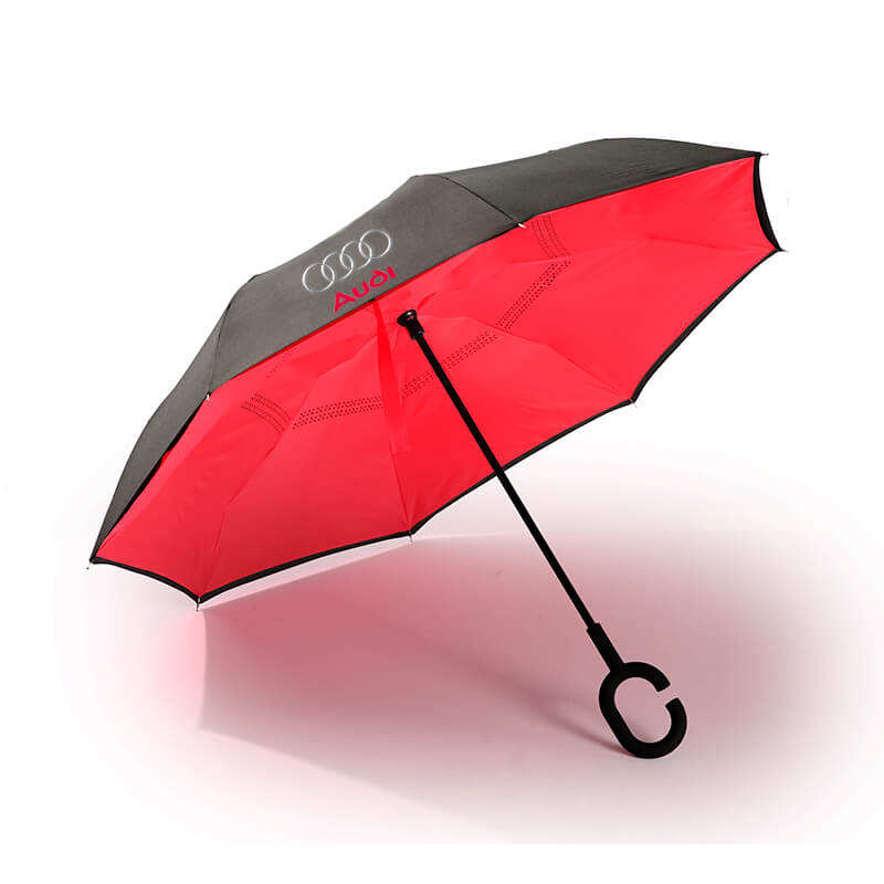 2020 New design inside out magic c handle inverted reverse umbrella with logo printing