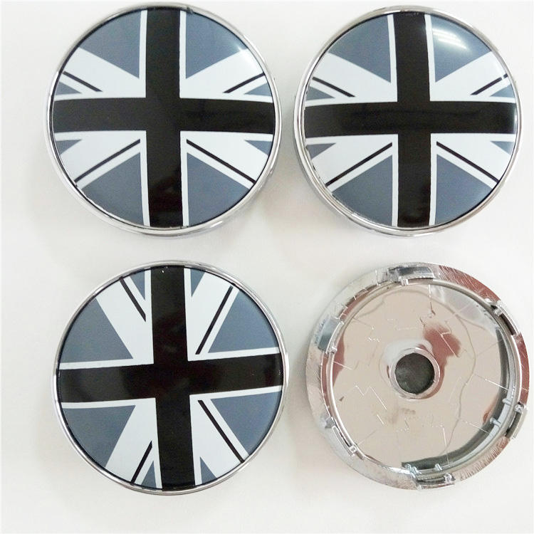 4pcs 56.5mm Emblem Badge Sticker Wheel Hub Caps Centre Cover Black Accessories Car Products Compatible Fit For USA Auto Model Ford Mustang