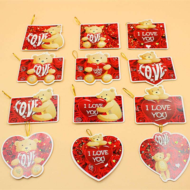 Cheap price Alibaba valentine Gift red kids lovely bear heart shape card love paper glitter valentine day birthday gift cards