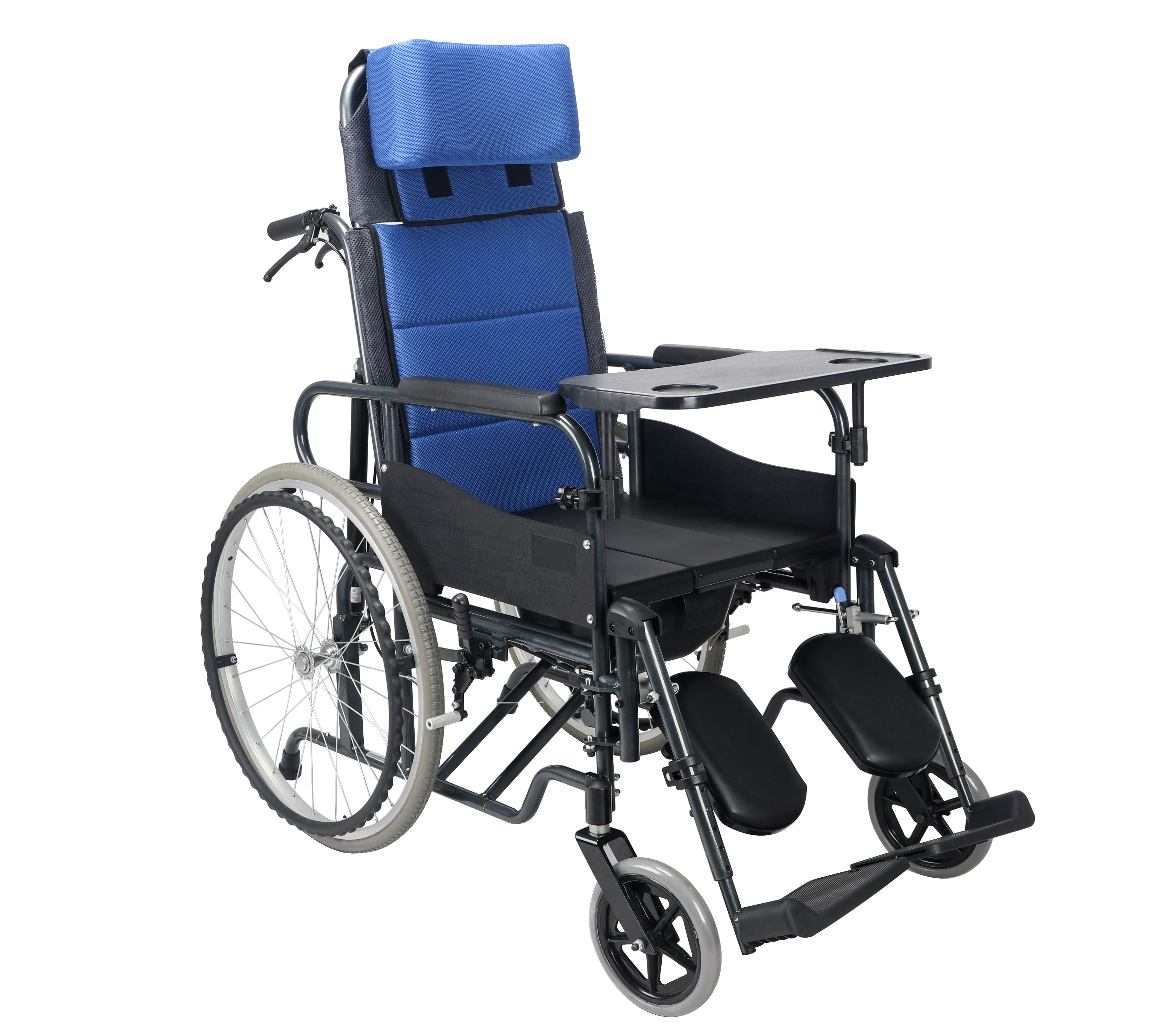 Aluminum alloy adopting commode Wheelchair with food able and toilet